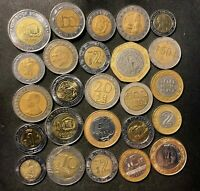 VINTAGE WORLD BI METAL COIN LOT   25 UNCOMMON COINS   LOT 11