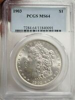 1903 MORGAN SILVER DOLLAR, PCGS CERTIFIED MINT STATE 64  0091