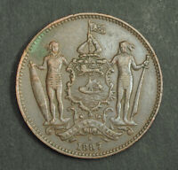 1887 BRITISH NORTH BORNEO  SABAH . BEAUTIFUL LARGE COPPER 1 CENT COIN. VF