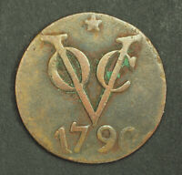 1790 NETHERLANDS EAST INDIES. LARGE COPPER 2 DUIT  DUBBELE DUIT  COIN. VF