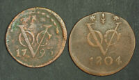 1793/1804 NETHERLANDS EAST INDIES. COPPER DUIT COINS.  F VF  2PCS