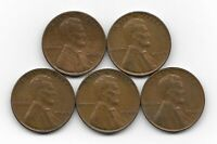1939D 1939S 1940 1940D 1040S LINCOLN WHEAT CENT CENTS 5 COIN LOT