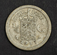 1917 NETHERLANDS EAST INDIES. BEAUTIFUL SILVER 1/4 GULDEN COIN. XF AU