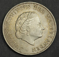 1964 NETHERLANDS ANTILLES  COLONY . DOLLAR SIZED SILVER 2 GULDEN COIN. AU UNC