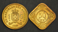 1989 NETHERLANDS ANTILLES  COLONY . AUREATE STEEL 50 CENTS & 1 GULDEN COINS. 2P