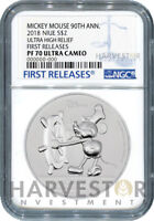 MICKEY MOUSE 90TH ANN. ULTRA HIGH RELIEF   2 OZ. COIN   NGC