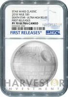 STAR WARS DEATH STAR ULTRA HIGH RELIEF   2 OZ. COIN   NGC PF
