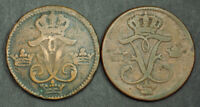 1747/1750 SWEDEN ADOLF FREDERICK. COPPER 1 RE COINS.  DAMAGED F VF   2PCS