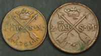 1761 SWEDEN ADOLF FREDERICK. LARGE COPPER 1 & 2 RE COINS.  VF/VF   2PCS