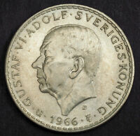 1966 SWEDEN GUSTAF VI ADOLF. LARGE SILVER 5 KRONOR COIN. UNC