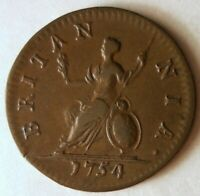 1754 GREAT BRITAIN FARTHING   AU ELITE COIN   STRONG VALUE