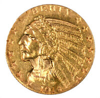 1913 S INDIAN HEAD GOLD HALF EAGLE $5 CLEANED