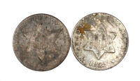 1852 & 1857 THREE CENT SILVER COINS GROUP OF TWO COINS CIRCU