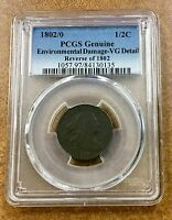 1802/0  REV OF 1802 1/2  DRAPED BUST HALF CENT PCGS GENUINE VG DETAILS