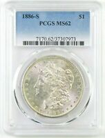1886-S MORGAN DOLLAR : CERTIFIED PCGS MINT STATE 62