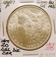 1889-P MORGAN SILVER DOLLAR, GEM BU/MS, VAM 20 DBL DIE EAR HOT 50 BRILLIANT B959