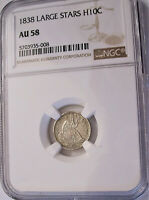 LOT OF ONE NGC CERTIFIED AU58 1838  LARGE STARS  SILVER HALF