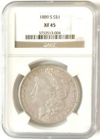1889-S MORGAN SILVER DOLLAR - EXTRA FINE  45 BY NGC