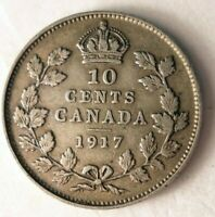 1917 CANADA 10 CENTS   STRONG VALUE   EXCELLENT SILVER COIN