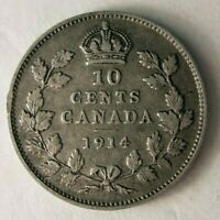 1914 CANADA 10 CENTS   STRONG VALUE   EXCELLENT SILVER COIN