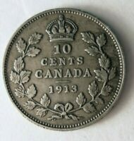 1913 CANADA 10 CENTS   STRONG VALUE   EXCELLENT SILVER COIN