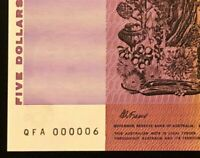 1990 AUSTRALIA $5 NOTE    LY LOW SERIAL NUMBER    000006