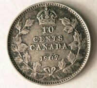 1907 CANADA 10 CENTS   STRONG VALUE   HIGH GRADE AU SILVER C