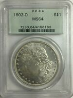 1902-O PCGS MINT STATE 64 MORGAN SILVER DOLLAR OGH WHITE W/LITE GOLDEN TONING MINT STATE 64 163