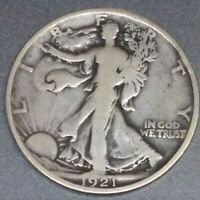 1921-P WALKING LIBERTY HALF DOLLAR IN FINE CONDITION  KEY DATE