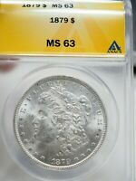 1879 MORGAN SILVER ONE DOLLAR $1 COIN PCGS MINT STATE 63  0183