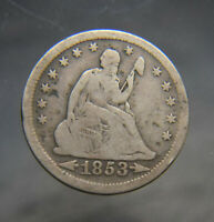 RAW 1853 SEATED LIBERTY 25C RAYS AND ARROWS PHILADELPHIA US MINT SILVER QUARTER