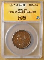 1847 BRAIDED HAIR LARGE CENT ANACS AU 58 DETAILS