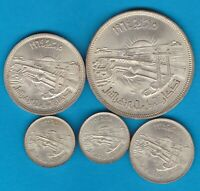 FIVE AH1384/1964 EGYPT SILVER COINS IN NEAR MINT CONDITON.