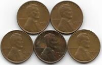1937S 1938 1938D 1938S 1939S LINCOLN WHEAT CENT CENTS 5 COIN LOT