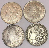 LOT OF FOUR $1 MORGAN SILVER DOLLARS 1889 S, 1890 S, 1887 S, 1921 D