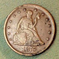 1875 PLAIN TWENTY CENT PIECE RARE DATE