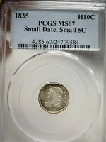 1835-P SMALL DATE, SMALL 5C H10C PCGS MINT STATE 67 9584