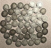 ONE MIXED LOT OF 47 SILVER BARBER DIMES. 20 DIFFERENT DATES