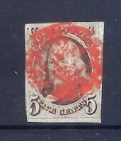US STAMPS   US 1A   USED    5 CENT  1847 FRANKLIN IMPERF ISS