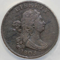 1805 1/2C LARGE 5 WITH STEMS C-4 DRAPED BUST LARGE CENT ANACS VF 35