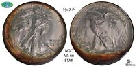 1947-P NGC SILVER WALKING LIBERTY HALF DOLLAR MINT STATE 66 STAR CRESCENT TONED -