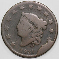 1831 1C N 12 CORONET OR MATRON HEAD LARGE CENT WITH GRELLMAN TAG