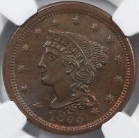 1855 1C UPRIGHT 55 BRAIDED HAIR LARGE CENT NGC MINT STATE 65 BN
