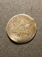 1852 3 CENT SILVER TRIME 3C US COLLECTIBLE TYPE COIN