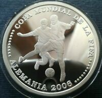 PARAGUAY ONE GUARANI 2003 SILVER PROOF WORLD FOOTBALL CUP GERMANY 2006