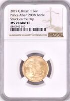 2019 GOLD SOVEREIGN. PRINCE ALBERT NGC MS70 MATTE. ROYAL MIN