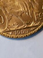 1905 FRANCE TWENTY GOLD FRANCS ROOSTER COIN SPECIAL YEAR