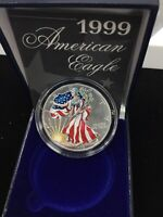 1999 AMERICAN SILVER EAGLE FULL COLORIZED ENAMEL PAINTED 1 OZ BULLION ROUND COIN