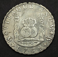 1738 MEXICO PHILIP V. COLONIAL SILVER 8 REALES COIN. DAMAGED