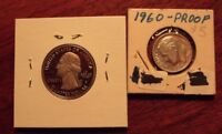 TWO PROOF COINS 2015 HOMESTEAD QUARTER & 1960 ROOSEVELT DIME